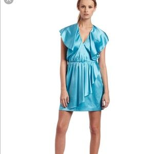 NWT H Halston Flutter Sleeve Acqua Metallic Dress